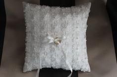 Handmade Daisy Garden Ivory Dupioni Silk Wedding Ring Pillow by ThreadedBlizz on Etsy, $58.00