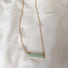 Turquoise bar gold necklace Turquoise bar necklace on a gold chain. 18in with extender. Jewelry Necklaces