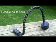 Paracordist how to tie a four strand round braid with paracord for a self defense keychain - YouTube