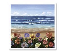 Settembre, dipinto 28x28 cm,stampa, paesaggio di mare, blu, oceano, natura arte, idea regalo, arte contemporanea, decoro casa by SilviaVeri
