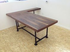 Walnut Desk with Pipe Legs