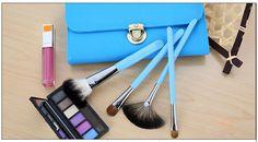 shiny sky blue makeup brush set