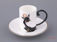 """Кофейный набор """"Кошка"""" на 1 персону 2 пр., 120 мл., Porcelain, Китай"""