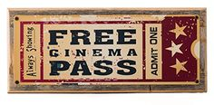 Framed Home Cinema Metal Sign Mounted on Rustic Weathered Wood -- To view further for this item, visit the image link.