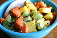 Sweet Potato Fruit Salad-This simple fruit salad is a familiar, earthy take on traditional fruit salad. The pineapple lends a rich, sweet juice to the surrounding fruit, offering just enough flavor so as to make a dressing totally unneccesary. (Though, if you feel so inclined, a drizzle of coconut milk would be welcome!) If you're a sweet potato fan, you'll love this easy side dish.