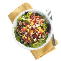 Healthy option for lunch! Try this Roast Beef and Red Grape Salad. Use seedless grapes, diced red & yellow peppers, deli-style roast beef and scallions.