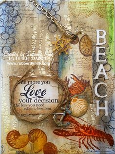 On the Beach - Mixed Media Canvas by Susanne Rose, using lots of stamps from Rubber Dance. Beautiful!!!