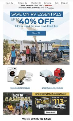 Camping Sale, Rv Camping, Ways To Save, Email Marketing, The Outsiders, Road Trip, Road Trips, Camping Holidays, Recreational Vehicles
