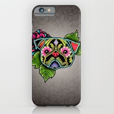 Day of the Dead Pug in Black Sugar Skull Dog Phone Case for iPhone and Samsung.  By Pretty In Ink.