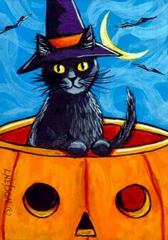 This is the best way to spend Saturday afternoon, September at Leisure Craft Camp 2018 at Brandon Spring Group Camp in Dover, Tennessee, where Julie Cabiness will help you paint this witch cat in acrylic on canvas. Halloween Friday The 13th, Halloween 1, Halloween Painting, Cross Stitch Games, Fall Cats, Black Canvas Paintings, Witch Cat, Autumn Painting, Art Portfolio