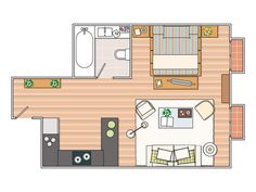 plano departamento de 35m2 Tiny home plan, less than 115 square feet