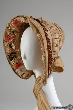 Bonnet tan silk,The pink, white, and green flower trim is calculated to frame the face and flatter the wearer. The Museum at FIT. Victorian Hats, Victorian Fashion, Vintage Fashion, Victorian Dresses, Historical Costume, Historical Clothing, Kleidung Design, Silk Bonnet, Image Mode