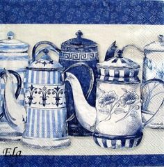 Paper Napkins For Decoupage, Decoupage Vintage, Tea Cup Art, Tea Labels, Watercolor Paintings, Watercolor Food, Tea Pot Set, Blue And White China, Vintage Tags