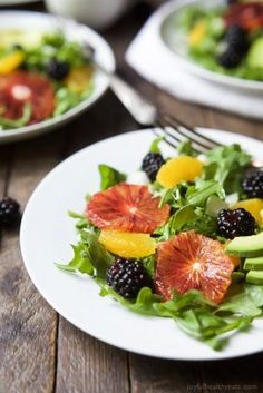 Summer Citrus Avocado Salad filled with fresh blackberries, avocado, spicy arugula, and vibrant citrus then finished with a Citrus Vinaigrette. This Salad is light, refreshing, low calorie, and takes minutes to make!