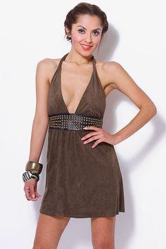 #clubwear21.com #dress #fashion green faux suede bejeweled waist backless halter mini dress-$32.00