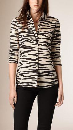 Branco natural/preto Camisa de seda e algodão com estampa de zebra - Imagem 1
