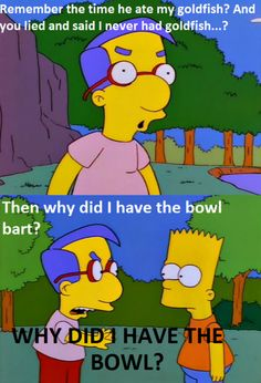 Milhouse being clever for a change.