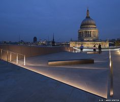 View from One New Change over to St Pauls in London. Lighting by Speirs + Major