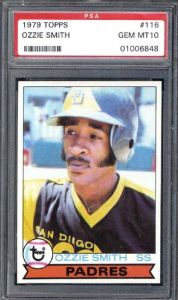 1979 Topps Ozzie Smith rookie card in PSA 10 (gem mint) condition sold for $20,852.