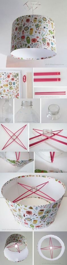 Pretty Lampshade - ideas how to add crossbars inside to hang it at different heights!