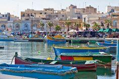 Malta - Marsaxlockk sea landscape. Barche boat