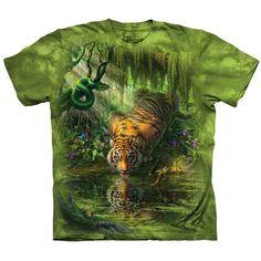 The Mountain ENCHANTED TIGER T-Shirt Bengal Siberian Art Scene Men S-5XL NEW! #TheMountain #GraphicTee #tiger #bengal #christmas