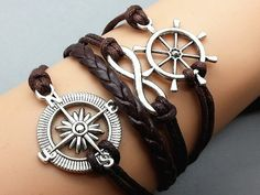 Compass & Infinity Wish and Rudder bracelet Brown wax cord Brown Leather  Antique Sliver Cute Charm Bracelet Personalized Jewelry Wholesale