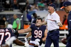 Head coach John Fox of the Chicago Bears encourages the team during warm-ups prior to the game against the Philadelphia Eagles at Soldier Field on Sept. 19, 2016 in Chicago.