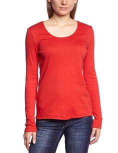 LANA natural wear Damen Langarmshirt 132 2265 5013 X-Shirt Anna, Gr. 38 (S), Rot (6853 paprika):