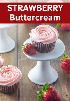 Jump to Recipe Print RecipeThis delicious strawberry buttercream tastes just like springtime berries swimming in heavy c. Desserts For A Crowd, Dessert Recipes, Baking Recipes, Fruit Recipes, Delicious Recipes, Chocolate Cake Mix Recipes, Chocolate Cupcakes, Strawberry Buttercream Frosting, Bakken