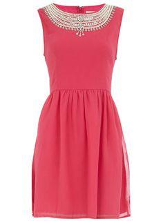 Embellished necklace dress #gorgeous