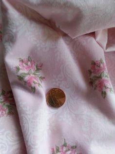 Lovely vintage??? floral pink/white/green fabric Fat Quarter 50cm x 50cm   eBay