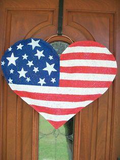 American Flag Heart Burlap Door Hanger