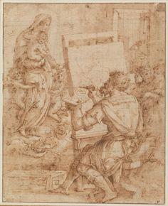 Giorgio Vasari Italian Saint Luke painting the Virgin (San Luca che… Giorgio Vasari, Fresco, Baroque Painting, Roman Sculpture, Italian Painters, Albrecht Durer, Pencil Portrait, Old Master, Gravure