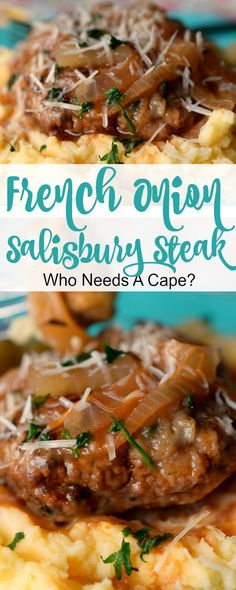 French Onion Salisbury Steak is a deliciously hearty meal that's easy enough for weeknights. Serve over mashed potatoes for the ultimate comfort meal. Easy Steak Recipes, Ground Beef Recipes, Meat Recipes, Easy Dinner Recipes, Easy Meals, Cooking Recipes, Hamburger Recipes, Cookbook Recipes, Deserts