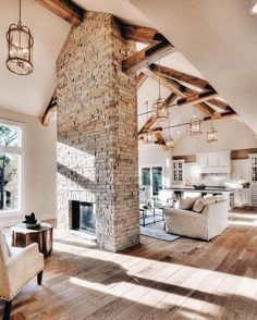 Fireplace dividing vaulted ceiling