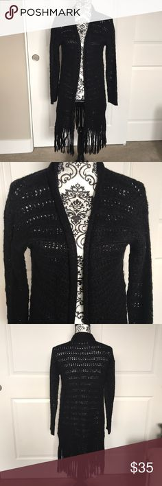 Long black sweater/cardigan with fringe Gently worn twice, super cute worn boots and skinnies! RD Style Sweaters Cardigans