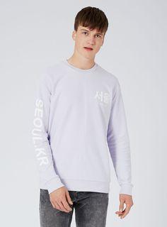 Sweatshirt mit Print und Design in Linksoptik, flieder