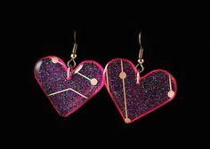 Crystal Circuit Heart Earrings ERCIRHEART01 by DownRightEpic, $12.00