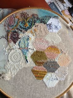 "This gives me ideas for my kind of ""quilting"" reusing scraps of fabric, doilies, tshirts, or whatever!"