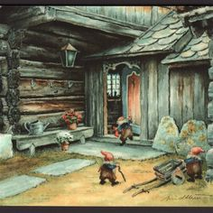 Midthunsamlerne Motiv fra Sandbu i Vågå Magical Creatures, Fantasy Creatures, Kinkade Paintings, Kobold, Postcard Art, Believe In Magic, Christmas Elf, Faeries, Gnomes