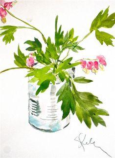 Bleeding Hearts - watercolor flowers by Gretchen Kelly by Gretchen Kelly