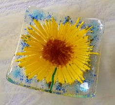 Sunflowers fused glass trinket dish