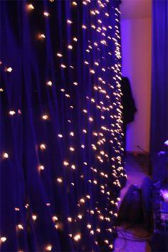 Super glue lights to black fabric/curtain