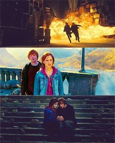 Emma Watson on set of HP. (Hermione and Ron- Rupert Grint) Harry Potter Ron, Ron And Hermione, Harry Potter Characters, Ron Weasley, Hermione Granger, Draco, Rupert Grint, Hogwarts, Slytherin