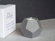 Aromatherapy Candle in Grey (pentagon top) Porcelain Geometric Holder, Boxed Gift, Geranium