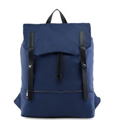 Nylon Backpack with PU Strap by Zalora. Sleek design backpack, with frontal flap and pu leather strap with contrast color, front pocket with zipper closure, this backpack made from nylon and polyurethane, magnetic button, inner zipper, inner pouch pockets, adjustable shoulder straps.   http://www.zocko.com/z/JIbli