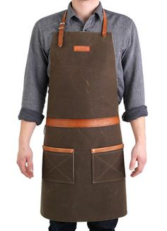 Hardmill Oak Apron: Hardmill Rugged Apron A former professional chef's ideal apron, made in America from waxed canvas and selvedge denim
