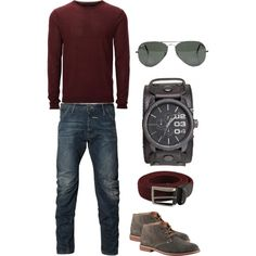 men style by catia-rodrigues on Polyvore featuring Luciano Barbera, Jack & Jones, G-Star Raw, Diesel, ALDO and Ray-Ban