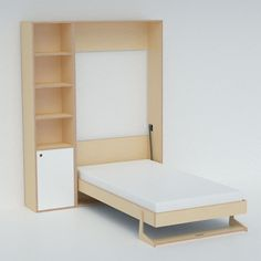 """Short on space? The new Tuck Bed by Casa Kids only takes up 12"""" of floor space when folded into its self-contained wall unit. Too cool!"""